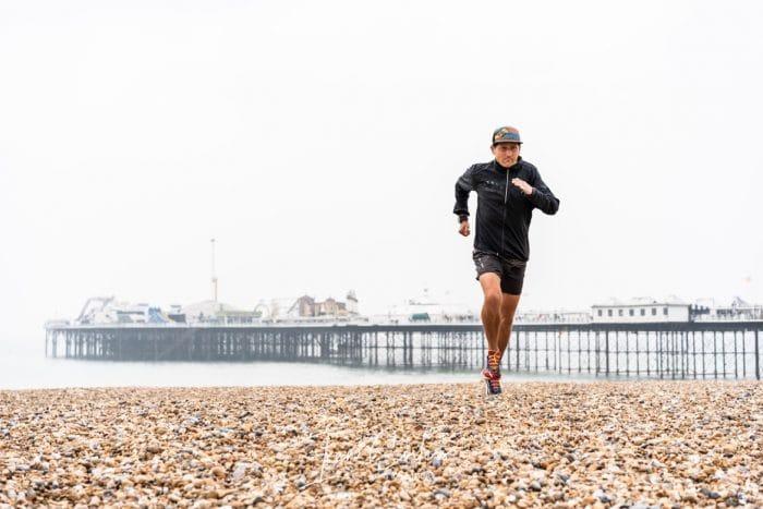 Lawson running on beach