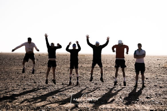Six Runners jumping at the end of Marathon Des Sables Race